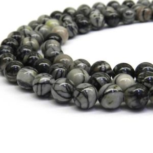 Shop Jasper Beads! Black Picasso, 6mm Beads, 8mm Beads, Black Vein, Black Beads, Black Gemstone, Black Picasso Jasper, Jasper Beads, Grey Black, Grey Beads | Natural genuine beads Jasper beads for beading and jewelry making.  #jewelry #beads #beadedjewelry #diyjewelry #jewelrymaking #beadstore #beading #affiliate #ad