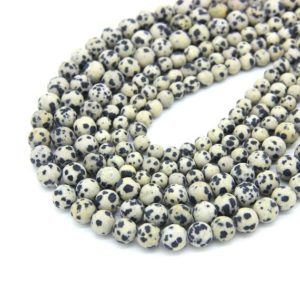 Shop Jasper Bead Shapes! Matte Dalmatian Japser Beads 6mm 8mm 10mm Natural Dalmation Jasper Mala Beads Cream Black Spot Gemstone Beads Frost Dalmatian Beads | Natural genuine other-shape Jasper beads for beading and jewelry making.  #jewelry #beads #beadedjewelry #diyjewelry #jewelrymaking #beadstore #beading #affiliate #ad