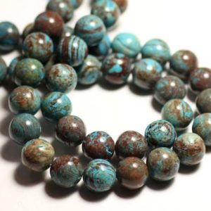 Shop Jasper Bead Shapes! Wire 39cm 62pc env – stone beads – Jasper landscape fall blue Turquoise Brown balls 6 mm | Natural genuine other-shape Jasper beads for beading and jewelry making.  #jewelry #beads #beadedjewelry #diyjewelry #jewelrymaking #beadstore #beading #affiliate #ad