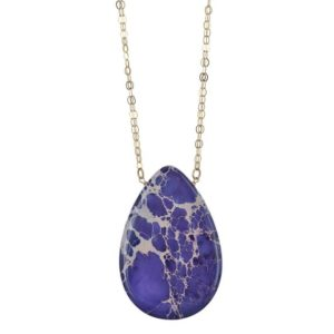 Shop Jasper Pendants! Large Purple Jasper Polished Briolette Gemstone Pendant Necklace, 14K GF  18 Inch Chain, Statement Bold Necklace, Birthday Gifts for Her | Natural genuine Jasper pendants. Buy crystal jewelry, handmade handcrafted artisan jewelry for women.  Unique handmade gift ideas. #jewelry #beadedpendants #beadedjewelry #gift #shopping #handmadejewelry #fashion #style #product #pendants #affiliate #ad