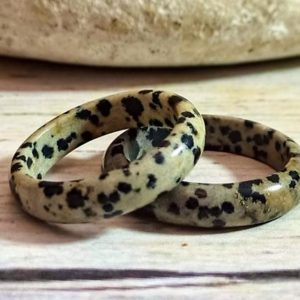 Dalmation Jasper ring, Natural Stone band ring, Spotted stone ring | Natural genuine Jasper rings, simple unique handcrafted gemstone rings. #rings #jewelry #shopping #gift #handmade #fashion #style #affiliate #ad