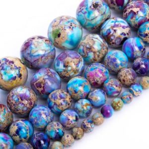 Shop Round Gemstone Beads! Icy Blue & Purple Sea Sediment Imperial Jasper Beads Natural Grade AAA Gemstone Round Loose Beads 4MM 6MM 8MM 10MM Bulk Lot Options | Natural genuine round Gemstone beads for beading and jewelry making.  #jewelry #beads #beadedjewelry #diyjewelry #jewelrymaking #beadstore #beading #affiliate #ad
