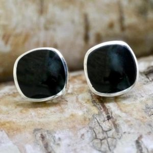 Shop Jet Earrings! Whitby Jet Silver Stud Earrings Cushion Design | Natural genuine Jet earrings. Buy crystal jewelry, handmade handcrafted artisan jewelry for women.  Unique handmade gift ideas. #jewelry #beadedearrings #beadedjewelry #gift #shopping #handmadejewelry #fashion #style #product #earrings #affiliate #ad