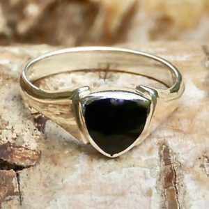 Shop Jet Rings! Whitby Jet Silver Ring Trillion Design – Handmade | Natural genuine Jet rings, simple unique handcrafted gemstone rings. #rings #jewelry #shopping #gift #handmade #fashion #style #affiliate #ad