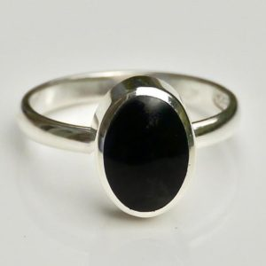Shop Jet Rings! Whitby Jet Sterling Silver Ring Oval Design | Natural genuine Jet rings, simple unique handcrafted gemstone rings. #rings #jewelry #shopping #gift #handmade #fashion #style #affiliate #ad