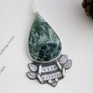 Shop Seraphinite Jewelry! Know Thyself – Seraphinite – Eco Sterling Silver Necklace | Natural genuine Seraphinite jewelry. Buy crystal jewelry, handmade handcrafted artisan jewelry for women.  Unique handmade gift ideas. #jewelry #beadedjewelry #beadedjewelry #gift #shopping #handmadejewelry #fashion #style #product #jewelry #affiliate #ad