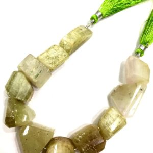 Shop Kunzite Beads! Extremely Rare Natural Green Kunzite Nuggets Beads Fancy Kunzite Faceted Nugget Beads Free Form Nuggets Jewelry Making Nugget Superb Quality | Natural genuine chip Kunzite beads for beading and jewelry making.  #jewelry #beads #beadedjewelry #diyjewelry #jewelrymaking #beadstore #beading #affiliate #ad