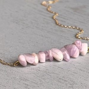 Shop Kunzite Necklaces! Dainty Kunzite Necklace, Raw Kunzite Jewelry, Kunzite Necklace Silver, Bridesmaid Crystal Necklace, Love Necklace, Pink Crystal Necklace | Natural genuine Kunzite necklaces. Buy crystal jewelry, handmade handcrafted artisan jewelry for women.  Unique handmade gift ideas. #jewelry #beadednecklaces #beadedjewelry #gift #shopping #handmadejewelry #fashion #style #product #necklaces #affiliate #ad