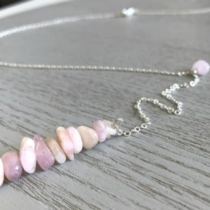 Shop Kunzite Necklaces! Long Kunzite Necklace, Gift for Self, Kunzite Crystal Necklace Silver, Dainty Crystal Necklace, Delicate Gemstone Necklace, Baby Shower Gift | Natural genuine Kunzite necklaces. Buy crystal jewelry, handmade handcrafted artisan jewelry for women.  Unique handmade gift ideas. #jewelry #beadednecklaces #beadedjewelry #gift #shopping #handmadejewelry #fashion #style #product #necklaces #affiliate #ad