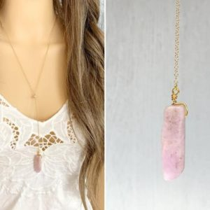 Shop Kunzite Necklaces! KUNZITE NECKLACE – Long Purple Crystal Necklace Gold Filled- Gifts Under 50 – Mothers Day Necklace – Pink Gemstone Lariat – New Mom Gifts | Natural genuine Kunzite necklaces. Buy crystal jewelry, handmade handcrafted artisan jewelry for women.  Unique handmade gift ideas. #jewelry #beadednecklaces #beadedjewelry #gift #shopping #handmadejewelry #fashion #style #product #necklaces #affiliate #ad