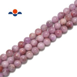 """Shop Kunzite Beads! Natural Lavender Pink Kunzite Smooth Round Beads 7mm 10mm 15.5"""" Strand 