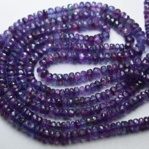Shop Kyanite Faceted Beads! 14 Inch Strand,Superb-Finest Quality,Dyed Mystic Purple Blue Kyanite Faceted Rondelles,Size.4-4.5mm | Natural genuine faceted Kyanite beads for beading and jewelry making.  #jewelry #beads #beadedjewelry #diyjewelry #jewelrymaking #beadstore #beading #affiliate #ad