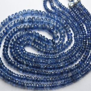 Shop Kyanite Faceted Beads! 8 Inch Strand,Superb-Finest Quality,Natural Blue Kyanite Faceted Rondelles,Size.3.5-4mm | Natural genuine faceted Kyanite beads for beading and jewelry making.  #jewelry #beads #beadedjewelry #diyjewelry #jewelrymaking #beadstore #beading #affiliate #ad