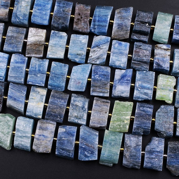 """Raw Natural Blue Green Kyanite Rectangle Slice Beads Center Drilled Focal Pendant Quality Gemstone Rough Cut 15.5"""" Strand"""