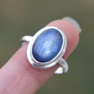 Shop Kyanite Rings! Natural Blue Kyanite Ring,Kyanite Ring,Solid 925 Sterling Silver Ring,Christmas Gift,Women's Gift Ring,Blue Gemstone,Handmade Gift for her | Natural genuine Kyanite rings, simple unique handcrafted gemstone rings. #rings #jewelry #shopping #gift #handmade #fashion #style #affiliate #ad