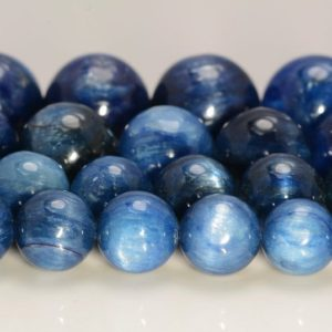 Shop Kyanite Beads! Kyanite Gemstone Blue Grade AA 6mm 8mm 9mm 10mm 11mm 12mm 13mm 14mm Round Loose Beads Half Strand (A218) | Natural genuine beads Kyanite beads for beading and jewelry making.  #jewelry #beads #beadedjewelry #diyjewelry #jewelrymaking #beadstore #beading #affiliate #ad