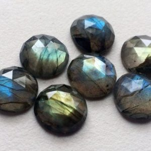 Shop Labradorite Cabochons! 14mm Labradorite Rose Cut Round Cabochons, Labradorite Faceted Round Flat Back Cabochons For Jewelry (1Pc To 5Pc Options) – KS79 | Natural genuine stones & crystals in various shapes & sizes. Buy raw cut, tumbled, or polished gemstones for making jewelry or crystal healing energy vibration raising reiki stones. #crystals #gemstones #crystalhealing #crystalsandgemstones #energyhealing #affiliate #ad