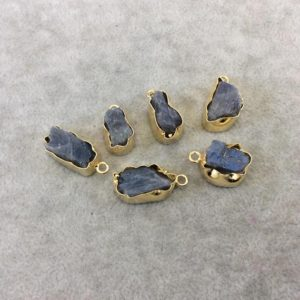 Shop Labradorite Chip & Nugget Beads! Gold Finish Small Raw Nugget Genuine Labradorite Wavy Bezel Pendant – ~ 12mm – 16mm Long – Sold Individually, Selected Randomly | Natural genuine chip Labradorite beads for beading and jewelry making.  #jewelry #beads #beadedjewelry #diyjewelry #jewelrymaking #beadstore #beading #affiliate #ad