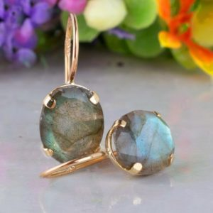 Shop Labradorite Jewelry! 14K Yellow Gold Labradorite Oval Earrings, Labradorite Jewelry, Gray Stone Earrings, Gold Drop Earrings, Gemstone Gold Dangle Earrings | Natural genuine Labradorite jewelry. Buy crystal jewelry, handmade handcrafted artisan jewelry for women.  Unique handmade gift ideas. #jewelry #beadedjewelry #beadedjewelry #gift #shopping #handmadejewelry #fashion #style #product #jewelry #affiliate #ad