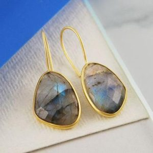 Shop Labradorite Earrings! Labradorite Gold Drop Earrings-gemstone Earrings-labradorite Dangle Earrings-gold Hook Earrings-gift For Her-gemstone Jewellery-earrings | Natural genuine Labradorite earrings. Buy crystal jewelry, handmade handcrafted artisan jewelry for women.  Unique handmade gift ideas. #jewelry #beadedearrings #beadedjewelry #gift #shopping #handmadejewelry #fashion #style #product #earrings #affiliate #ad