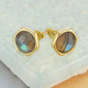 Shop Labradorite Jewelry! Gold Gemstone Stud Earrings, Labradorite Earrings, Labradorite Studs, Gold Studs, Simple Earrings, Natural Stone Earrings, Gold Gemstone | Natural genuine Labradorite jewelry. Buy crystal jewelry, handmade handcrafted artisan jewelry for women.  Unique handmade gift ideas. #jewelry #beadedjewelry #beadedjewelry #gift #shopping #handmadejewelry #fashion #style #product #jewelry #affiliate #ad