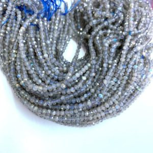 Shop Labradorite Faceted Beads! Tiny Labradorite 3x2mm 4x3mm Rondelle Micro Faceted Beads, Small Gray Blue Flashy Labradorite Beads,Gray Gemstone Semi Precious  Minimalist | Natural genuine faceted Labradorite beads for beading and jewelry making.  #jewelry #beads #beadedjewelry #diyjewelry #jewelrymaking #beadstore #beading #affiliate #ad