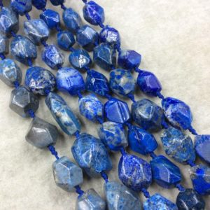"Shop Lapis Lazuli Chip & Nugget Beads! Natural Lapis Lazuli Faceted Freeform Nugget Beads – Sold by 15.5"" Strands (~20 Beads per Strand) – Measuring 12-18mm x 15-25mm, Approx. 