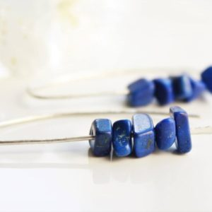 Shop Lapis Lazuli Earrings! Lapis Lazuli Sterling Silver Threader Earrings Natural Royal Blue Gemstone Hand Forged Modern Minimalist Statement Gift For Her Women 3360 | Natural genuine Lapis Lazuli earrings. Buy crystal jewelry, handmade handcrafted artisan jewelry for women.  Unique handmade gift ideas. #jewelry #beadedearrings #beadedjewelry #gift #shopping #handmadejewelry #fashion #style #product #earrings #affiliate #ad