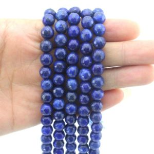 Shop Lapis Lazuli Faceted Beads! 4mm,6mm,8mm,10mm Faceted Lapis Lazuli Beads, Blue Round Beads, Natural Gemstone Beads,Beading supplies—15-16 inches–EB364 | Natural genuine faceted Lapis Lazuli beads for beading and jewelry making.  #jewelry #beads #beadedjewelry #diyjewelry #jewelrymaking #beadstore #beading #affiliate #ad