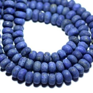 Shop Lapis Lazuli Rondelle Beads! 10pc – stone beads – Lapis Lazuli matte frosted Rondelle 8x5mm – 8741140007840 | Natural genuine rondelle Lapis Lazuli beads for beading and jewelry making.  #jewelry #beads #beadedjewelry #diyjewelry #jewelrymaking #beadstore #beading #affiliate #ad