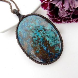 Shop Azurite Necklaces! RESERVED FOR SALLY,  Blue Azurite Necklace / Azurite pendant / Healing stone / Large pendant / Soul purpose gifts / Spiritual jewelry | Natural genuine Azurite necklaces. Buy crystal jewelry, handmade handcrafted artisan jewelry for women.  Unique handmade gift ideas. #jewelry #beadednecklaces #beadedjewelry #gift #shopping #handmadejewelry #fashion #style #product #necklaces #affiliate #ad