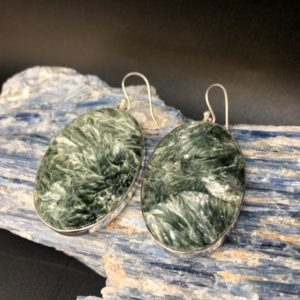 Shop Seraphinite Earrings! Large Seraphinite Earrings // Green Seraphinite Earrings // Large Oval Seraphinite Earrings // Sterling Silver | Natural genuine Seraphinite earrings. Buy crystal jewelry, handmade handcrafted artisan jewelry for women.  Unique handmade gift ideas. #jewelry #beadedearrings #beadedjewelry #gift #shopping #handmadejewelry #fashion #style #product #earrings #affiliate #ad
