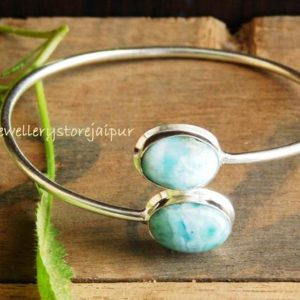Shop Larimar Bracelets! Adjustable bracelet, larimar bracelet, sterling silver bangle,Larimar gemstone bangle,Silver bracelet, double stone bangle, Larimar bangle, | Natural genuine Larimar bracelets. Buy crystal jewelry, handmade handcrafted artisan jewelry for women.  Unique handmade gift ideas. #jewelry #beadedbracelets #beadedjewelry #gift #shopping #handmadejewelry #fashion #style #product #bracelets #affiliate #ad