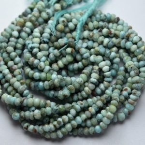 Shop Larimar Faceted Beads! 13 Inch Strand,Natural Larimar Faceted Rondelles Shape Beads,Size 3.5-4mm | Natural genuine faceted Larimar beads for beading and jewelry making.  #jewelry #beads #beadedjewelry #diyjewelry #jewelrymaking #beadstore #beading #affiliate #ad