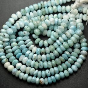 Shop Larimar Faceted Beads! 7 Inch Strand,Superb-Finest Quality,Natural Larimar Faceted Rondelles Shape Beads,Size 7-8mm | Natural genuine faceted Larimar beads for beading and jewelry making.  #jewelry #beads #beadedjewelry #diyjewelry #jewelrymaking #beadstore #beading #affiliate #ad