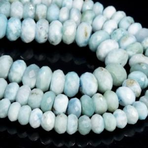 Shop Larimar Faceted Beads! Genuine Natural Larimar Loose Beads Dominica Grade A Sky Blue Faceted Rondelle Shape 6x4mm 8x5mm 10x6mm | Natural genuine faceted Larimar beads for beading and jewelry making.  #jewelry #beads #beadedjewelry #diyjewelry #jewelrymaking #beadstore #beading #affiliate #ad