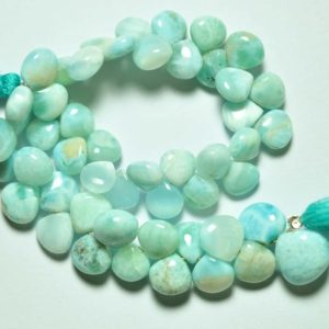 """7.5"""" Strand Natural Larimar Heart Beads 7mm to 9mm Smooth Heart Briolettes Superb Larimar Stone Smooth Gemstone Beads No3827 