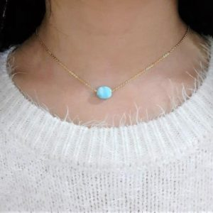 Larimar Necklace, Floating Larimar Necklace / Handmade Jewelry / Genuine Larimar Fidget Necklace, Pendant Dainty Layered Delicate Minimalist | Natural genuine Larimar pendants. Buy crystal jewelry, handmade handcrafted artisan jewelry for women.  Unique handmade gift ideas. #jewelry #beadedpendants #beadedjewelry #gift #shopping #handmadejewelry #fashion #style #product #pendants #affiliate #ad