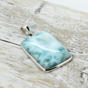 Shop Larimar Pendants! Stunning piece of genuine Larimar pendant rectangle shape cab set on 925 sterling silver unisex nickel free silver | Natural genuine Larimar pendants. Buy crystal jewelry, handmade handcrafted artisan jewelry for women.  Unique handmade gift ideas. #jewelry #beadedpendants #beadedjewelry #gift #shopping #handmadejewelry #fashion #style #product #pendants #affiliate #ad