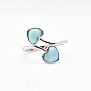 Shop Larimar Rings! Two Hearts Larimar Ring in Sterling Silver – Larimar Ring Size 5, 6 – Stone Ring – Larimar Ring – Heart Ring – Silver Heart – 925 Sterling | Natural genuine Larimar rings, simple unique handcrafted gemstone rings. #rings #jewelry #shopping #gift #handmade #fashion #style #affiliate #ad