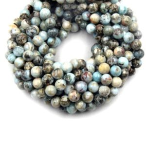 Shop Larimar Round Beads! Larimar Beads | Smooth Larimar Round Beads | 6mm 8mm 10mm | Natural genuine round Larimar beads for beading and jewelry making.  #jewelry #beads #beadedjewelry #diyjewelry #jewelrymaking #beadstore #beading #affiliate #ad