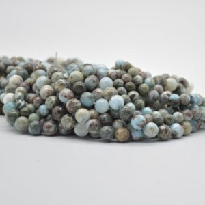 "Shop Larimar Round Beads! High Quality Natural Grade B Larimar Semi-precious Gemstone Round Beads – 6mm, 8mm sizes – Approx 15.5"" strand 