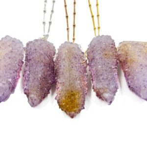 Lavender spirit Quartz necklace Raw ametrine necklace Cactus quartz cluster Stalactite necklace Large Amethyst spirit quartz pendant | Natural genuine Gemstone necklaces. Buy crystal jewelry, handmade handcrafted artisan jewelry for women.  Unique handmade gift ideas. #jewelry #beadednecklaces #beadedjewelry #gift #shopping #handmadejewelry #fashion #style #product #necklaces #affiliate #ad