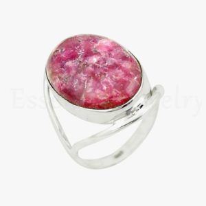 Shop Lepidolite Rings! Thulite Gemstone Ring, Oval Gemstone, Pink Thulite Ring, Silver Band Ring, Silver Ring, Handmade Ring, Gift Ring, Artisan Ring, Sale | Natural genuine Lepidolite rings, simple unique handcrafted gemstone rings. #rings #jewelry #shopping #gift #handmade #fashion #style #affiliate #ad