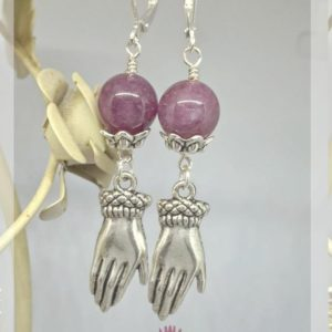 Shop Lepidolite Earrings! Lepidolite hands earrings, lepidolite jewelry, gift idea, esoteric jewelry, reiki, energy stones, wicca, lithotherapy | Natural genuine Lepidolite earrings. Buy crystal jewelry, handmade handcrafted artisan jewelry for women.  Unique handmade gift ideas. #jewelry #beadedearrings #beadedjewelry #gift #shopping #handmadejewelry #fashion #style #product #earrings #affiliate #ad