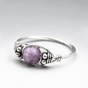 Shop Lepidolite Rings! Light Lepidolite Faceted Bali Sterling Silver Wire Wrapped Gemstone BEAD Ring – Made to Order, Ships Fast! | Natural genuine Lepidolite rings, simple unique handcrafted gemstone rings. #rings #jewelry #shopping #gift #handmade #fashion #style #affiliate #ad