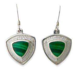 Shop Malachite Earrings! Malachite Triangle Silver Drop Earrings | Natural genuine Malachite earrings. Buy crystal jewelry, handmade handcrafted artisan jewelry for women.  Unique handmade gift ideas. #jewelry #beadedearrings #beadedjewelry #gift #shopping #handmadejewelry #fashion #style #product #earrings #affiliate #ad