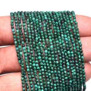 "Shop Malachite Beads! AAA+ Malachite Gemstone 2mm-3mm Micro Faceted Beads | Natural Malachite Semi Precious Gemstone Loose Beads for Jewelry Making | 13"" Strand 