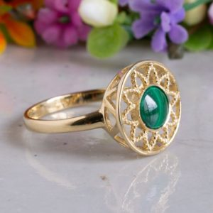 Shop Malachite Rings! Vintage Malachite Ring, 14K Gold Ring, Dainty Ring, Malachite Jewelry, Eternity Ring, Gemstone Ring, Solitaire Ring, Crystal Ring | Natural genuine Malachite rings, simple unique handcrafted gemstone rings. #rings #jewelry #shopping #gift #handmade #fashion #style #affiliate #ad