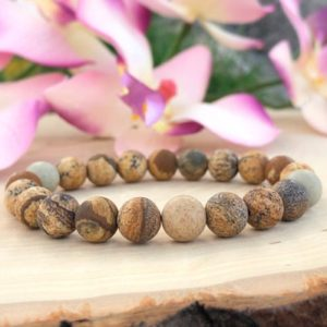 Shop Picture Jasper Jewelry! Matte Picture Jasper Bracelet, Brown Bead Stretch Bracelet Mens, Earthy, Harmony, Immune System, Balance, Inner Peace, Emotional Healing | Natural genuine Picture Jasper jewelry. Buy handcrafted artisan men's jewelry, gifts for men.  Unique handmade mens fashion accessories. #jewelry #beadedjewelry #beadedjewelry #shopping #gift #handmadejewelry #jewelry #affiliate #ad